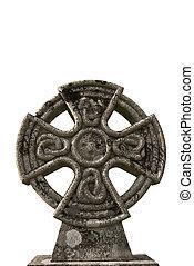 celtycki, starożytny, krzyż, przeciw, tło, biały