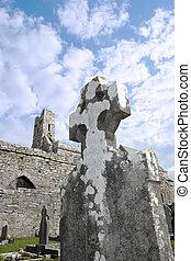 celtycki, starożytny, krzyż