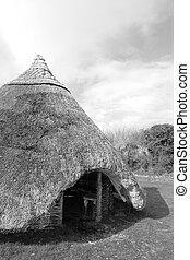 celtycki, starożytny, mieszkanie, poszywany