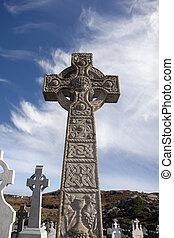 celtycki, stary, cmentarz, kincasslagh