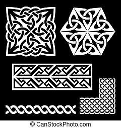 celtycki, węzły, -, irlandzki, galony, wzory, klucz, scottish, biały