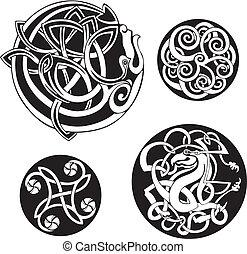 celtycki, wektor, komplet, okrągły, knots.