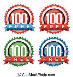 cem, cento, livre, emblema, com, fita