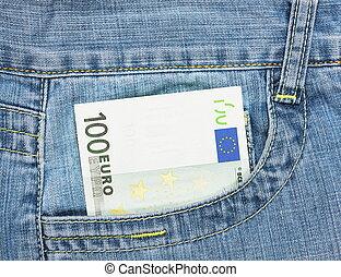 cem, conta, calças brim, euro, um