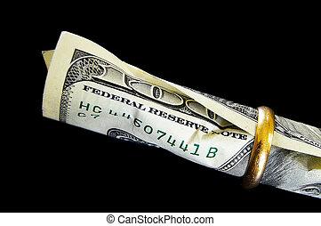 cem conta dólar, um