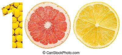 cem, frutas, feito, numere um