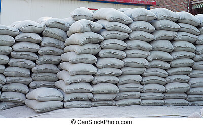 Accumulation of many cement bag