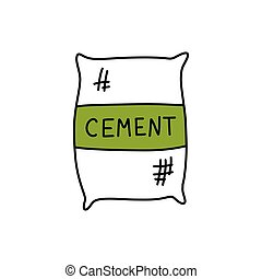 cement bag doodle icon, vector color illustration