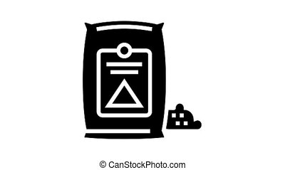 cement bag animated glyph icon. cement bag sign. isolated on white background