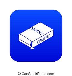 Cement bag icon blue