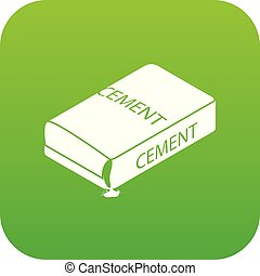 Cement bag icon green vector