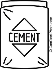 Cement bag icon, outline style