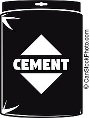 Cement bag icon, simple style