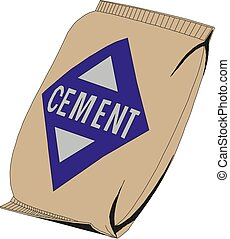 Cement bag isolated on white background. Vector illustration.