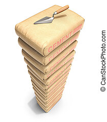 Cement bags stack with trowel on white background - 3D...
