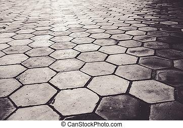 cement block Octagon shape path or walkway