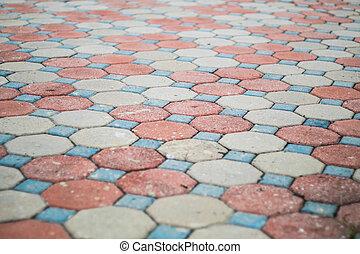 Cement block pavement.