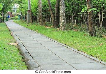 cement block walkway in the park