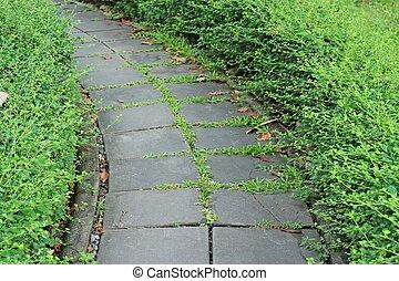 cement block walkway
