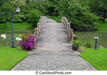 cement, broer, og, walkway, by, udøvelse, hos, træer, park