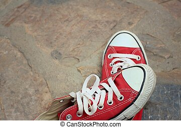 cement., chaussures, fond, rouges