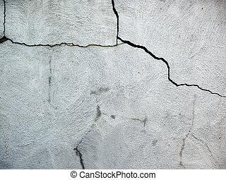 Cement cracks - Close up on damaged cracked house fondation...