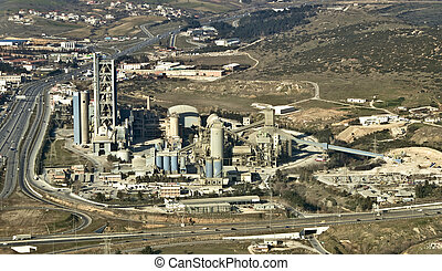 Cement factory, aerial