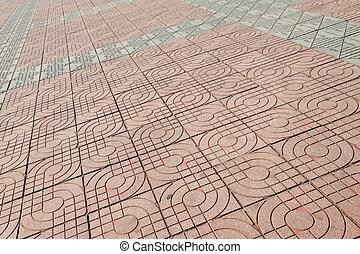 cement floor tile - pink cement floor tile, closeup of...