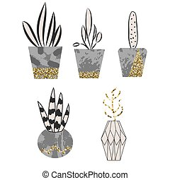 Cement flower pots with plants and glitter decor.