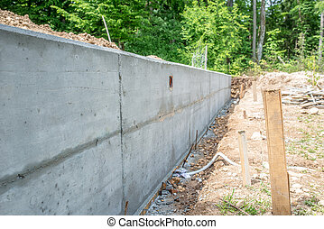 Cement Foundation Wall at Construction Site