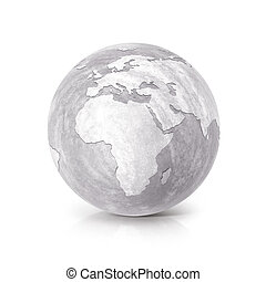 Cement globe 3D illustration europe and africa map