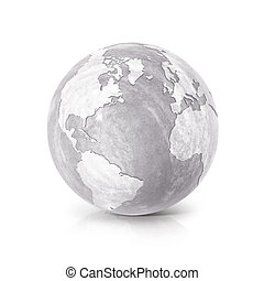 Cement globe 3D illustration North and South America map