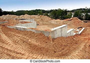 cement, grundande, av, a, brandnew, hem, plats