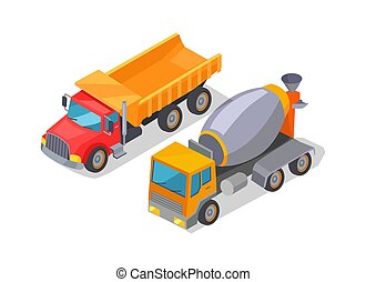 Cement-Mixer and Lorry Poster Vector Illustration -...