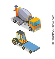 Cement Mixer and Transporting Machinery Icons - Cement mixer...