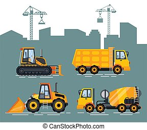 Cement Mixer and truck, Loader Transport City - Cityscape ...