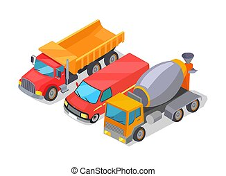 Cement-Mixer and Trucks Set Vector Illustration -...