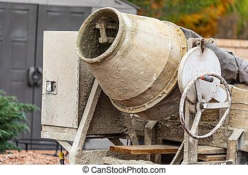 Cement Mixer At Construction Site