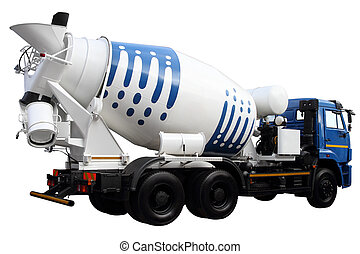 Cement mixer - Car for transportation of concrete, isolated ...