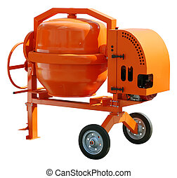 Cement mixer - Concrete mixer isolated with clipping path