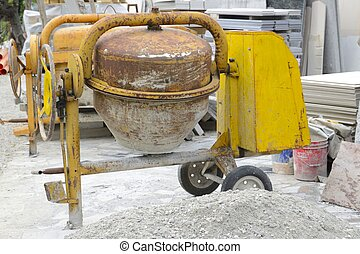 Cement mixer - Construction site, cement mixer, equipment ...