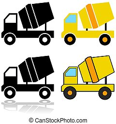 Cement mixer icons - Icon set showing different ...