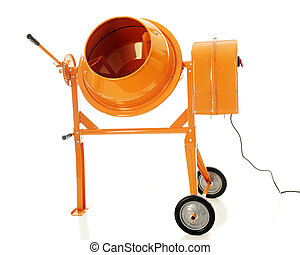 Image of a shiny new cement mixer. On a white background.
