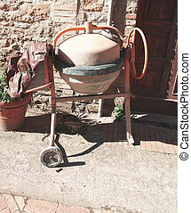 cement mixer in a construction site in la spezia