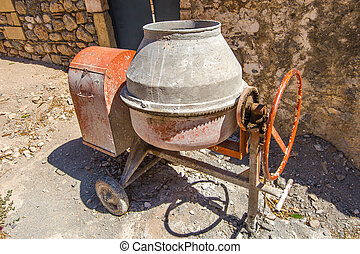 Cement mixer - Red and grey cement mixer during a house ...