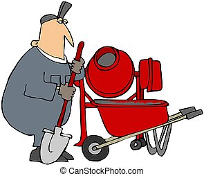Cement Mixer - This illustration depicts a man mixing...