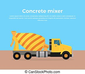 Cement Mixer Truck Banner Flat Design Vector - Cement Mixer...