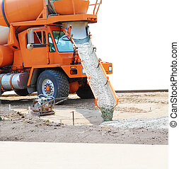 Cement Mixer Truck - Concrete mixer truck pouring cement...