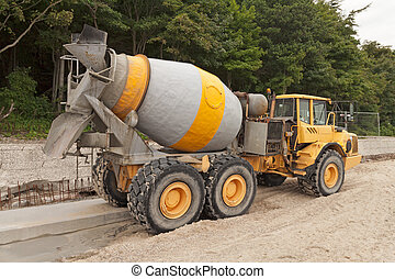 Cement Mixer Truck - Heavy Yellow Concrete Truck