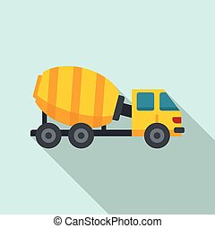 Cement mixer truck icon, flat style - Cement mixer truck ...